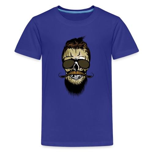 tete de mort hipster barbu barbe crane lunette de - T-shirt Premium Ado