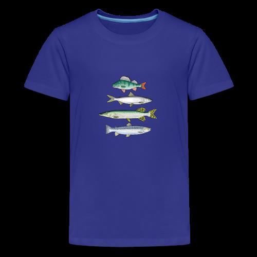 10-34 FOUR FISH - Ahven, siika, hauki ja taimen - Teinien premium t-paita
