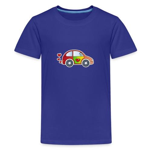 Kids Car Spielzeugauto Herzen bunt fröhlich Kinder - Teenage Premium T-Shirt