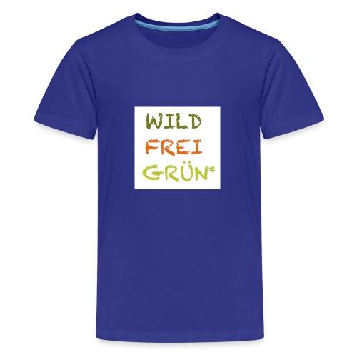 Logo WILD FREI GRÜN jpg - Teenager Premium T-Shirt