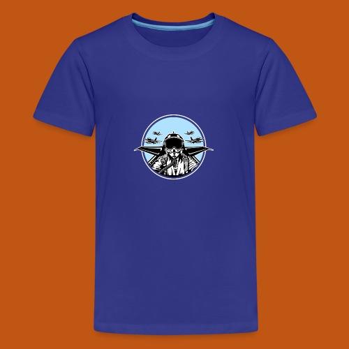 Jet Pilot / Kampfpilot 01_schwarz weiß - Teenager Premium T-Shirt
