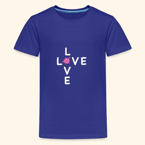 LOVE Cross white klecks pink 001 - Teenager Premium T-Shirt
