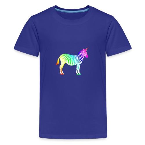 Zebra Einhorn Unicorn Regenbogen Zauber Magie - Teenage Premium T-Shirt
