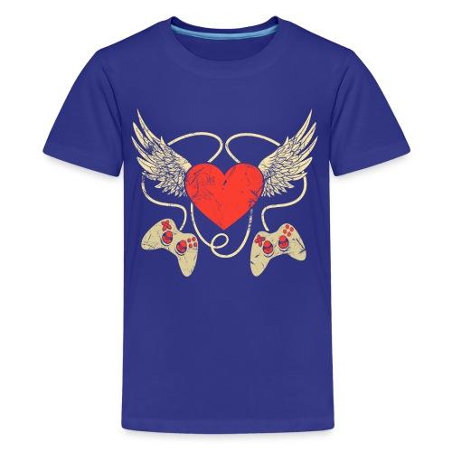 Gamer Herz - Controller - Teenager Premium T-Shirt