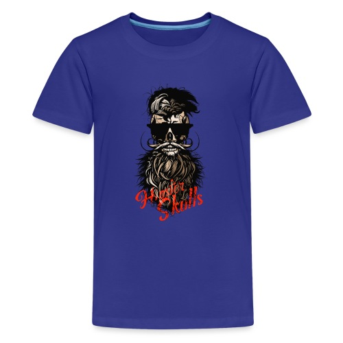 tete de mort barbu hipster barbe crane moustache m - T-shirt Premium Ado