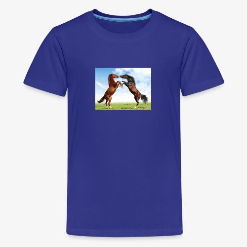 kaksi hevosta - Teinien premium t-paita