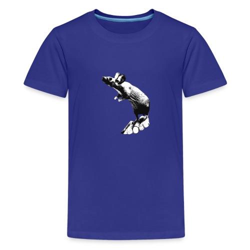 Seisova nakuhiiri - mustavalko - Teinien premium t-paita