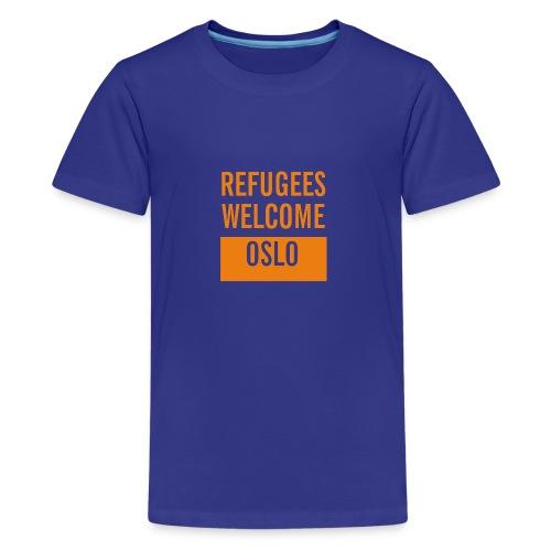 Refugees Welcome Oslo - Premium T-skjorte for tenåringer