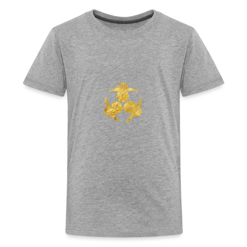 Three Geese Japanese Kamon in gold - Teenage Premium T-Shirt