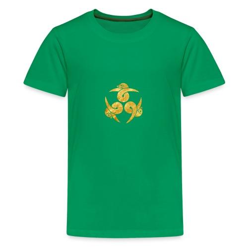 Three Geese Japanese Kamon in gold - Teenage Premium T-Shirt