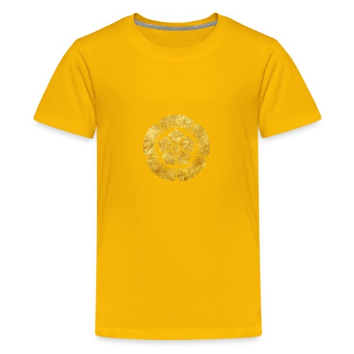 Oda Mon Japanese samurai clan faux gold on black - Teenage Premium T-Shirt
