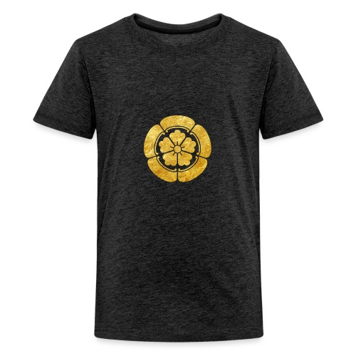 Oda Mon Japanese samurai clan faux gold on black - Teenage Premium T-Shirt