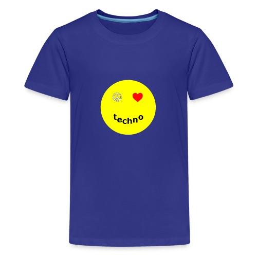 camiseta paz amor techno - Camiseta premium adolescente