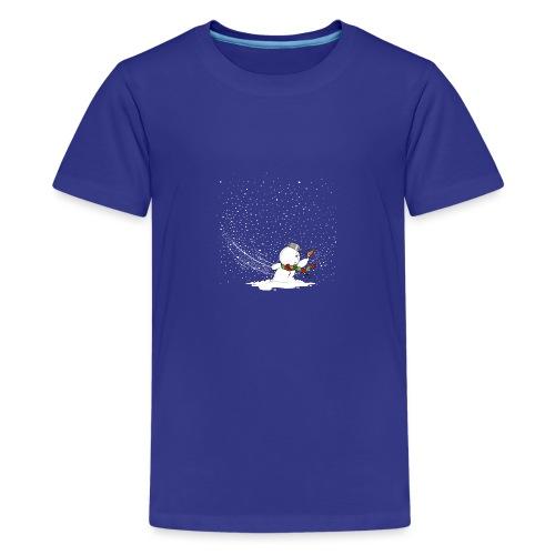 Schneemann im Sturm - Teenager Premium T-Shirt