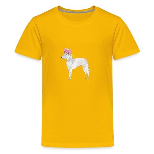 bedlington terrier with roses - Teenager premium T-shirt