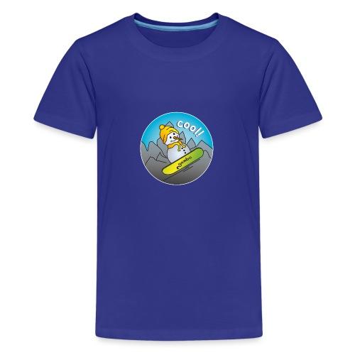 Schneemann auf Snowboard - Teenager Premium T-Shirt
