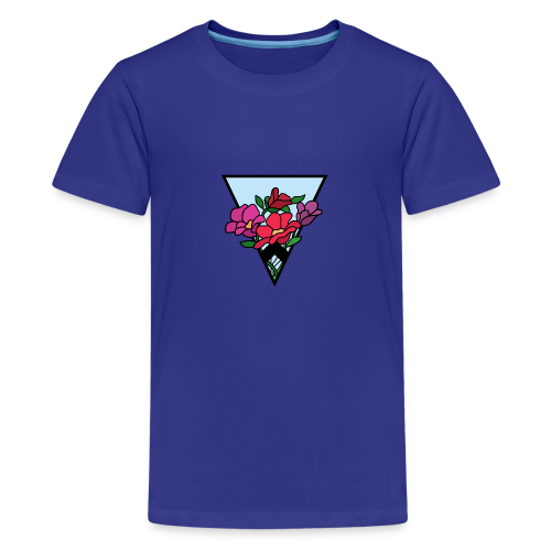 colourful flower bouquet in a triangle - Teenage Premium T-Shirt