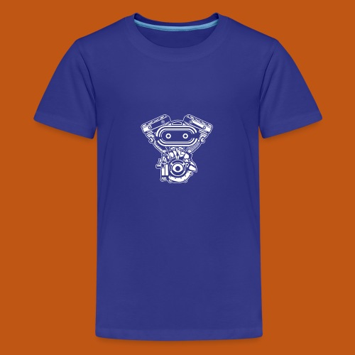 Motorrad Motor / Engine 02_weiß - Teenager Premium T-Shirt