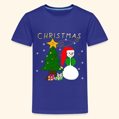 Christmas, Weihnachten, Schneemann, Weihnachtsbaum - Teenager Premium T-Shirt