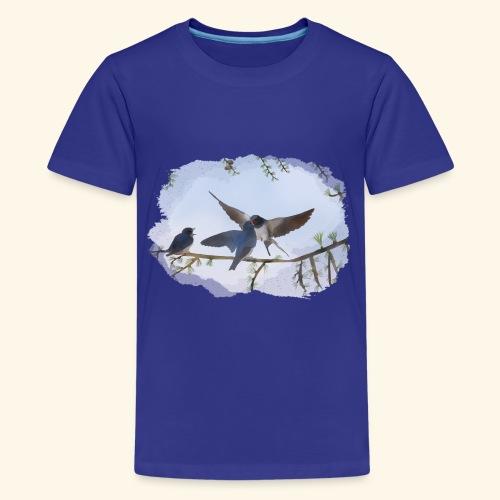 20 a Schwalben draußen.png - Teenager Premium T-Shirt