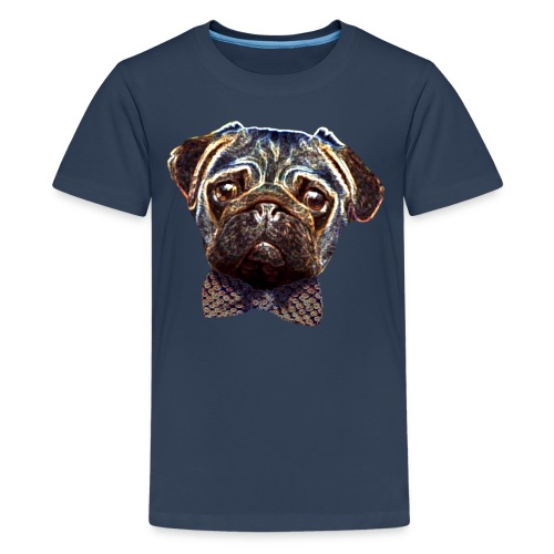 Pug with bow tie - Teenage Premium T-Shirt
