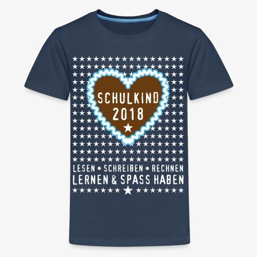 19 Lebkuchenherz Schulkind 2018 Sterne - Teenager Premium T-Shirt