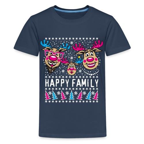 95 Rentier Rudolph HAPPY FAMILY Papa Mama Kind - Teenager Premium T-Shirt