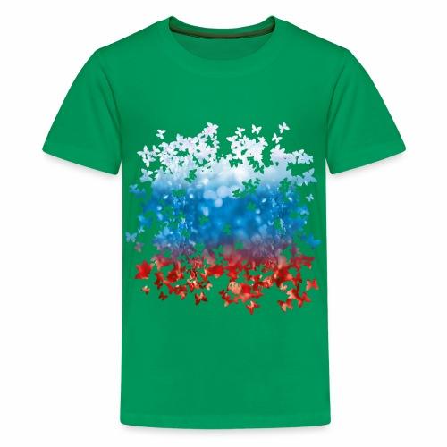 06 Russland Flagge Fahne Russia Schmetterlinge - Teenager Premium T-Shirt