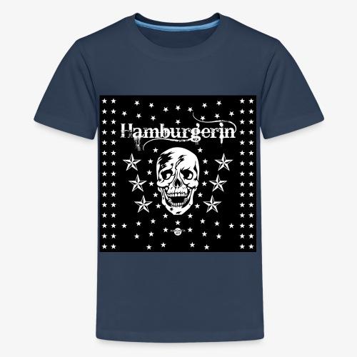 06 Hamburgerin Totenkopf Hamburg Sterne Mundschutz - Teenager Premium T-Shirt