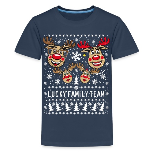 100 LUCKY FAMILY TEAM Papa Mama 2 Kinder Winter - Teenager Premium T-Shirt