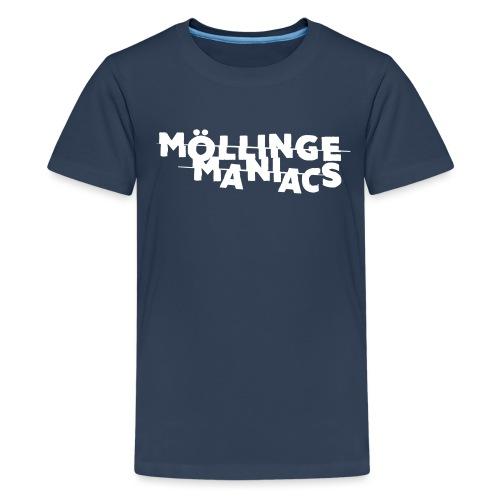 Möllinge Maniacs Vit logga - Premium-T-shirt tonåring