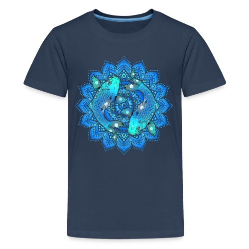 Asian Pond Carp - Koi Fish Mandala 1 - Teenager Premium T-Shirt