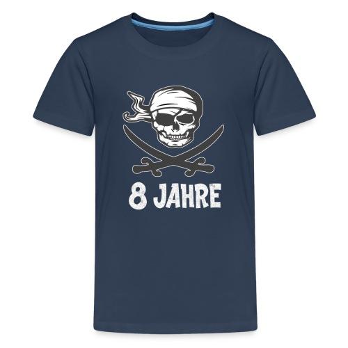 Geburtstagsshirt 8 Jahre Junge Totenkopf Pirat - Teenager Premium T-Shirt