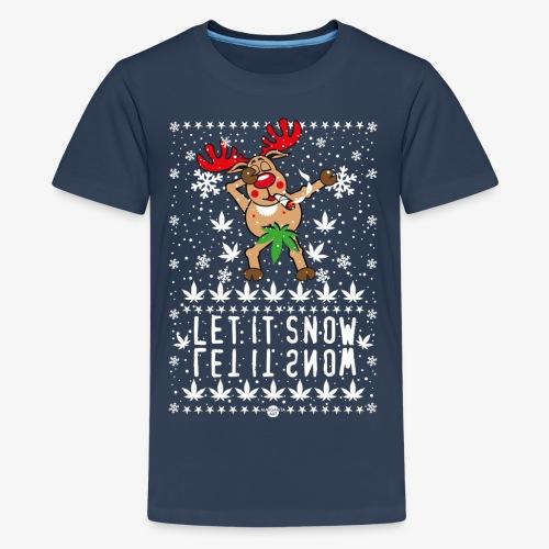 238 Hirsch Rudolph Dabbing Let it Snow Hanf - Teenager Premium T-Shirt