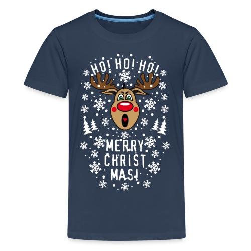 75 Hirsch Rudolph Ho Ho Ho Merry Christmas Schrei - Teenager Premium T-Shirt