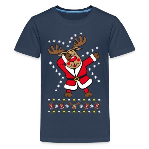 87 Dabbing Reindeer Rentier Hirsch Rudolph Funny - Teenager Premium T-Shirt