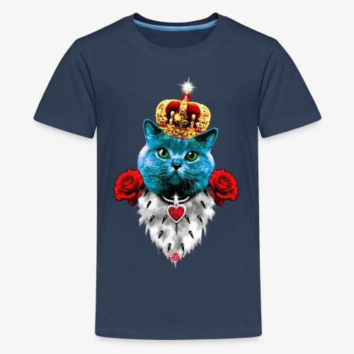 18 Blue Cat King Red Roses Blaue Katze König Rosen - Teenager Premium T-Shirt