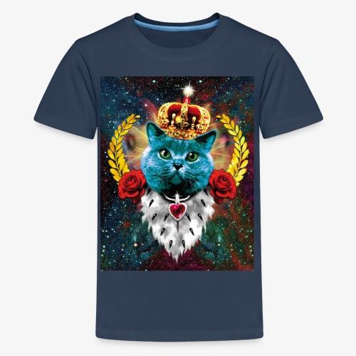 01 Blue Cat King Katze Queen Rosen - Teenager Premium T-Shirt