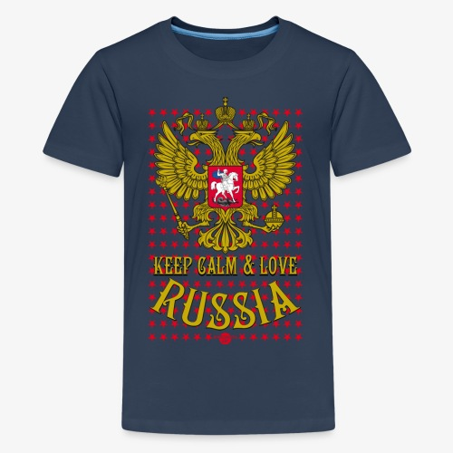 120 Keep Calm and Love Russia Wappen Sterne - Teenager Premium T-Shirt