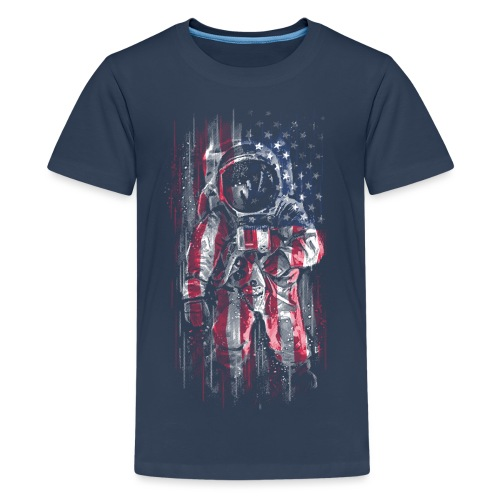 Astronaut Flag - Teenage Premium T-Shirt