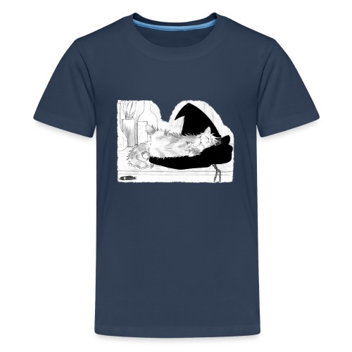 Tyrrin Hexenkater auf Hut (grau) - Teenager Premium T-Shirt