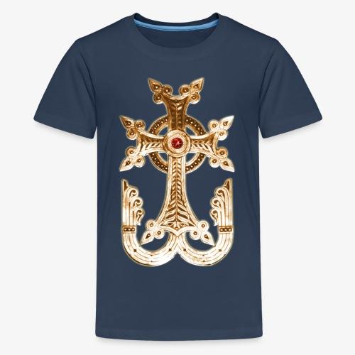 Armenisches Kreuz / Armenian Cross Gold Metallic - Teenager Premium T-Shirt