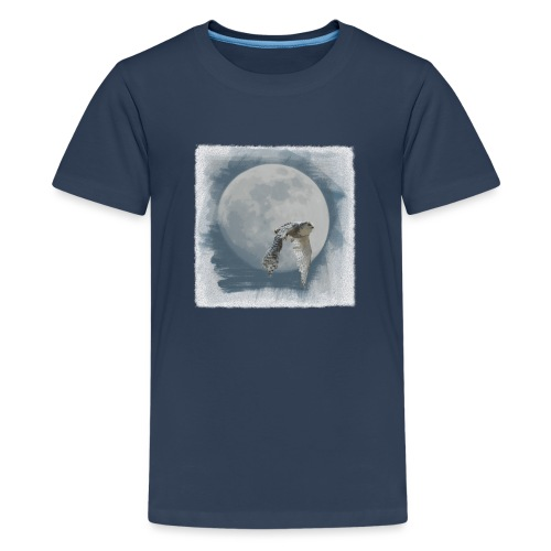 Flying owl full moon watercolor photo art - Teenage Premium T-Shirt