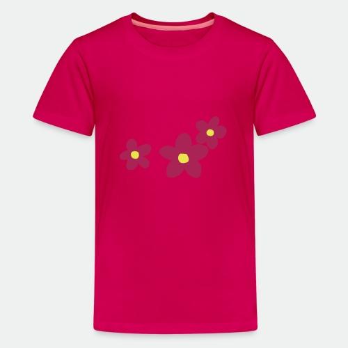 Three Flowers - Teenage Premium T-Shirt