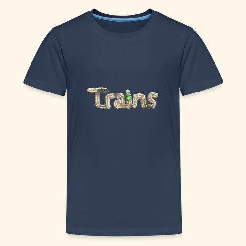 Colourful eagle eye's view of model trains - Teenage Premium T-Shirt
