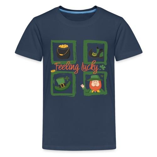 Be happy - feeling lucky St. Patricks day - Teenage Premium T-Shirt