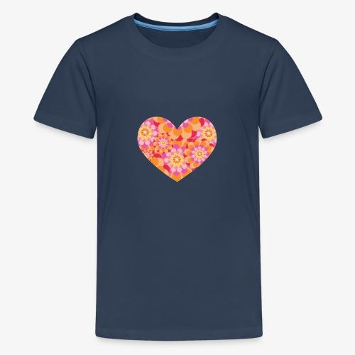 Floral Hearts - Teenage Premium T-Shirt