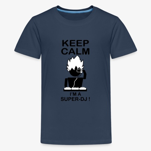 KEEP CALM SUPER DJ B&W - T-shirt Premium Ado