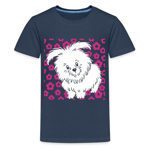 Cute White Dog - Teenage Premium T-Shirt