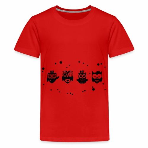 Kleine lustige Eulen - Schwarz / Weiß - Teenager Premium T-Shirt